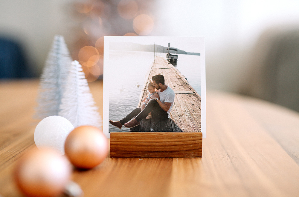 Square Prints in a Wood Block Photo Stand Christmas Gift