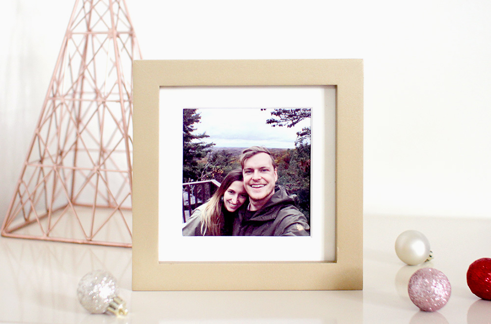 Square Photo Print in a Gold Frame Christmas Gift