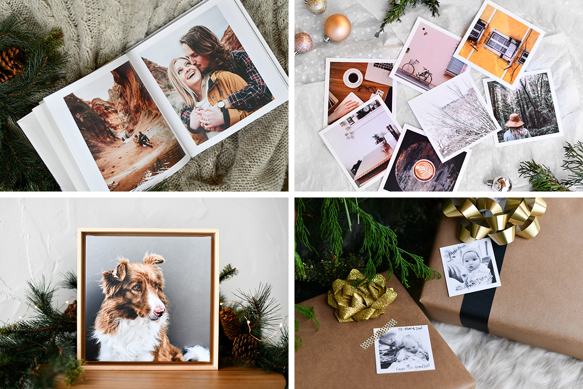 Photo Gifts styled with christmas decor